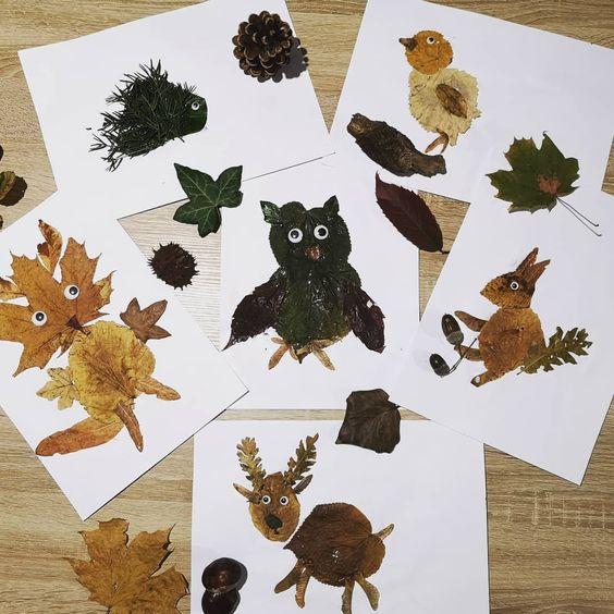 animaux en feuilles d'arbres