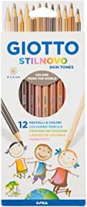 Giotto 257400–Crayons de Couleur Stilnovo, Teint, 1 Paquet de 12