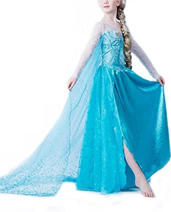 Nice Sport - Robe Reine des Neiges Enfant - Déguisement Princesse Frozen - Costume Fille Carnaval Anniversaire - Elsa
