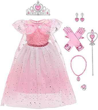 IBAKOM Enfants Filles Robe Princesse Costume Elsa Cosplay Déguisement Fleur Paillette Soirée Mariage Anniversaire Halloween Carnaval Cape Tulle