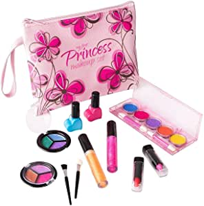Playkidz - My First Princesse Lavable Véritable Ensemble de Maquillâge, avec Design Floral Cosmétique Sac, PK3032, Motif Rose - Version Anglaise